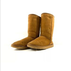 UGG Womens Tan Classic Tall Boots Leather Outside